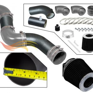 ARES MATTE BLACK PIPE GRAY SHORT RAM INTAKE Compatible For 96-02 Compatible Ford CROWN VICTORIA/TOWN CAR/GRAND MARQUIS V8