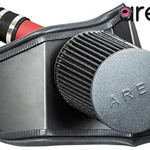 BLACK Heat Shield Cold Air Intake + Red Filter 08-14 Compatible With WRX/STI 2.5L TurboCold Air Intake w/ Heat Shield