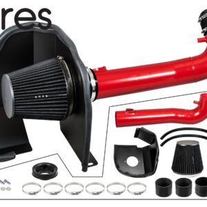 Red Heat Shield Cold Air Intake + Filter 14-19 Compatible With Silverado Sierra 1500 V8