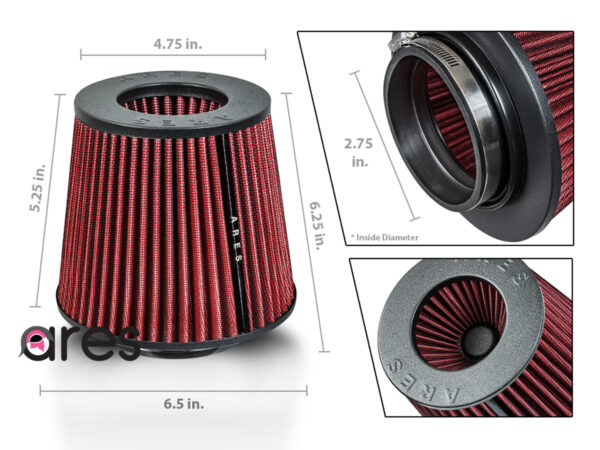 """Ares Red 3"""" Universal Dry Air Filter Cone Dry Filter Replacement"""